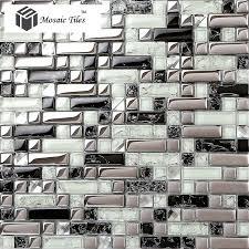 tst crystal glass tile silver black white metallic bathroom wall kitchen backsplash deco art