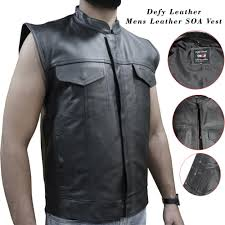 defy premium quality soa men s leather vest anarchy motorcycle biker club vest