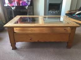 corona mexican glass top 2 drawer coffee table