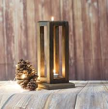 wood candle lantern made of reclaimed wood