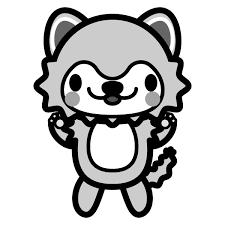 モノクロでかわいい狼の無料イラスト商用フリー オイデ43