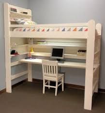Loft Bed Bunk Bed College Youth Child Teen Loft Bed All-In-One Sleep &  Study Loft Bed with Long Desk.