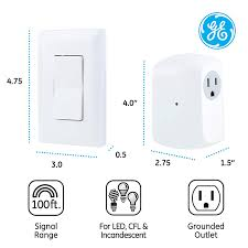 Ge Remote Light Switch Details About Ge Wireless Remote Wall Switch Control No Wiring Needed 1 Grounded Outlet