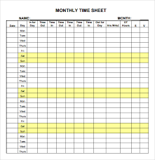 Free Monthly Timesheet Template Excel Free Monthly Timesheet Template In Pdf Word Excel