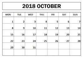 Free October 2018 Monday Start Calendar 2018 Calendars Calendar