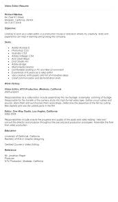 Video Editor Resume Template Freelance Video Editor Resume Video ...
