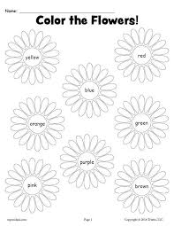 Flowers free pictures for print. Printable Flower Color Words Worksheet Supplyme
