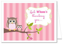 Owl Girl Baby Shower Thank You Note CardsOwl Baby Shower Thank You Cards