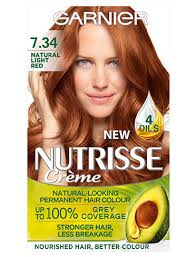 Creme Of Nature Permanent Hair Color Chart Garnier Nutrisse 7 34 Light Natural Red Permanent Hair Dye