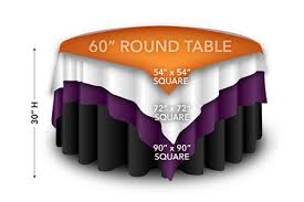 square tablecloth overlays on 60 inch round table