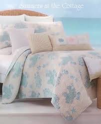coastal living sea glass aqua blue c reef cabana stripe beach house chic quilt set view images