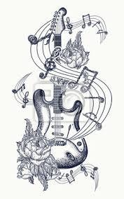 Fototapeta Kytarové Tetování Elektrická Kytara Růže A Hudební Noty Rock