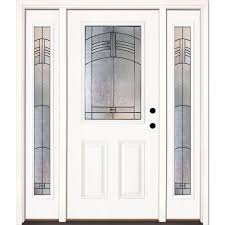 smooth white ready to paint feather river doors with glass 873190 3b4 64 1000 home depot