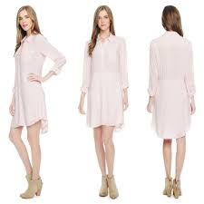 Light Pink Button Up Dress Splendid Pale Pink Gauzy Button Front Long Sleeve Shirtdress Mid Length Short Casual Dress Size 12 L 73 Off Retail
