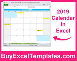 Calendar From Excel Data Printable 2019 Calendar Excel Templates 2019 One Page Full Year Calendars 2019 Monthly Yearly Calendars Editable Digital Download