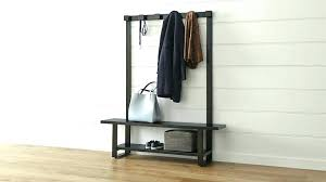 shoe bench with coat rack wooden entryway storage and hanger ikea