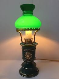 emerald green table lamp with the emblem of kingdom of saxony providentiae memor