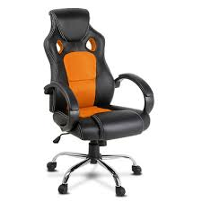 Image Leather Reclining Racing Style Pu Leather Office Chair Orange1 Crazy Bargain Crazy Sales Racing Style Pu Leather Office Chair Orange 11385 Sale