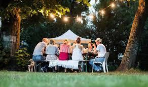 how to design a garden. Family Having Dinner In Garden How To Design A