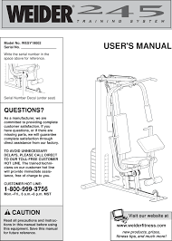 Weider 245 System Wesy1900 Users Manual Wesy19002 184681
