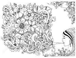 ベクターのイラストの女性女の子花を持つフルート着色反応力黒と白大人のぬりえの本楽器音楽