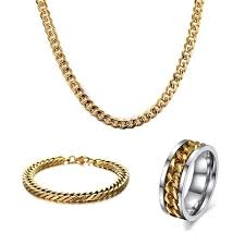 men hip hop jewelry set snless steel link chain necklace bracelet and spinner ring jewellery sets