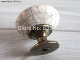 ceramic knobs / kitchen cabinet knobs dresser drawer knobs white crackle  antique bronze furniture door hardware