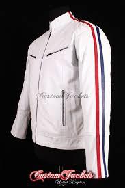 men s racing stripes white lambskin red blue british france biker real leather jacket
