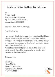 Apologize Sample Letters Apology Letter Template To Boss Manager Sample Examples