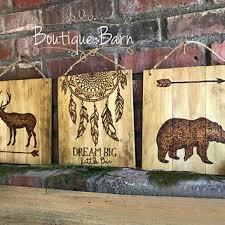 dream catcher wood sign tribal nursery wall decor woodland anima