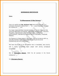 Sample Letters Of Experience Certificate Fresh Job Experience Letter
