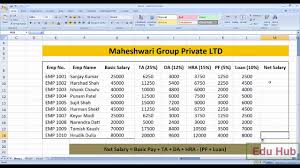Salary Chart In Excel Format How To Create Salary Sheet And Payslip In Ms Excel