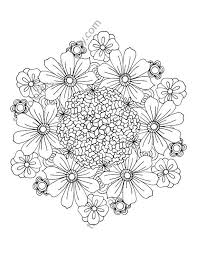 Flower Coloring Page Floral Adult Coloring Page Digital Mandala
