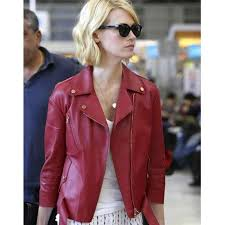 january jones red leather jacket women