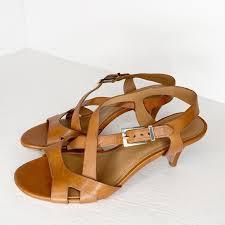 Elite Tahari Strappy Kitten Heel Brown Sandals 8 5
