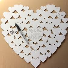 personalised white wedding heart guest book 40cm x 40cm