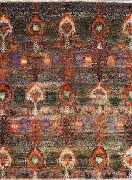 sari silk sari 06 multi greens hand knotted area rug