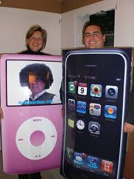 iphone costume. couple with iphone and pink ipod costumes iphone costume