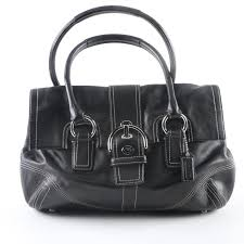 Coach Hamptons Soho Black Leather Buckle Flap Satchel ...