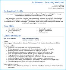 Cv Sample Teacher Assistant Professional Resume Templates