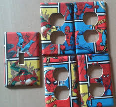 Spiderman Bedroom Decorations Comic Marvel Spiderman Kids Boys Girls Light Switch Plate Cover