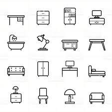 creative furniture icons set flat design. Flat Line Icons For Furniture Vector Illustration Royalty-free Creative Set Design