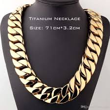 top quality real anium steel jewelry heavy curb cuban link necklaces for men s exaggerated gold chain 71cm 3 2cm necklaces hip hop iced out jewelry chain