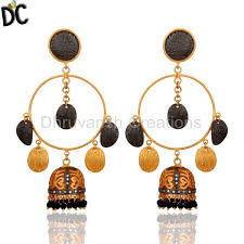 designer jewelry brushed gold plated black onyx and cz bridal fashion jhumka chandelier earrings traditional