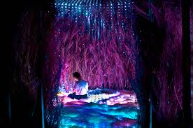 the installation provides place for the visitor to contemplate through the sensual and orchestral journey of
