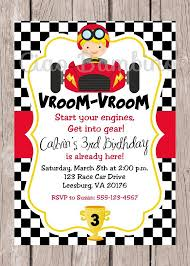Car Birthday Invitations Printable Race Car Birthday Party Invitation Personalized