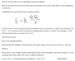 online chemistry problem solver dr layne morsch department of  how to use coulomb s law to solve basic chemistry problems