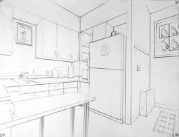 kitchen drawing perspective. Simple Kitchen Drawing 2 TwoPoint Perspective Interior Examples  Draw A Corner In The  Kitchen Including Appliances With Kitchen O