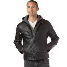 calvin klein faux leather hoo jacket
