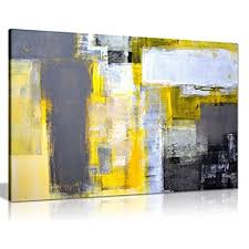 modern art for office. Office Art Grey And Yellow Abstract Painting Canvas Wall Picture Print (36X24) Modern For A